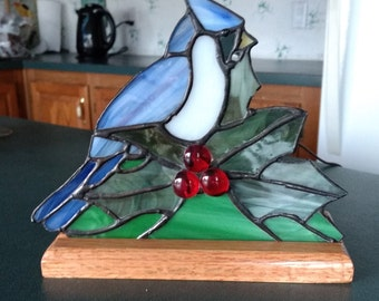 Blue Jay Stain Glass Nite Light