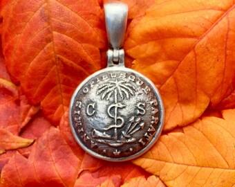 Sterling Silver Confederate SOUTH CAROLINA Palmetto Guard Civil War Button Pendant