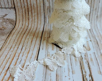 Ivory White Butterfly Lace Trim. Venice Lace. Vintage Lace, Wedding, Bridal Lace,  Craft Supplies. Sewing Supplies. Texas. Sold By The Yard.