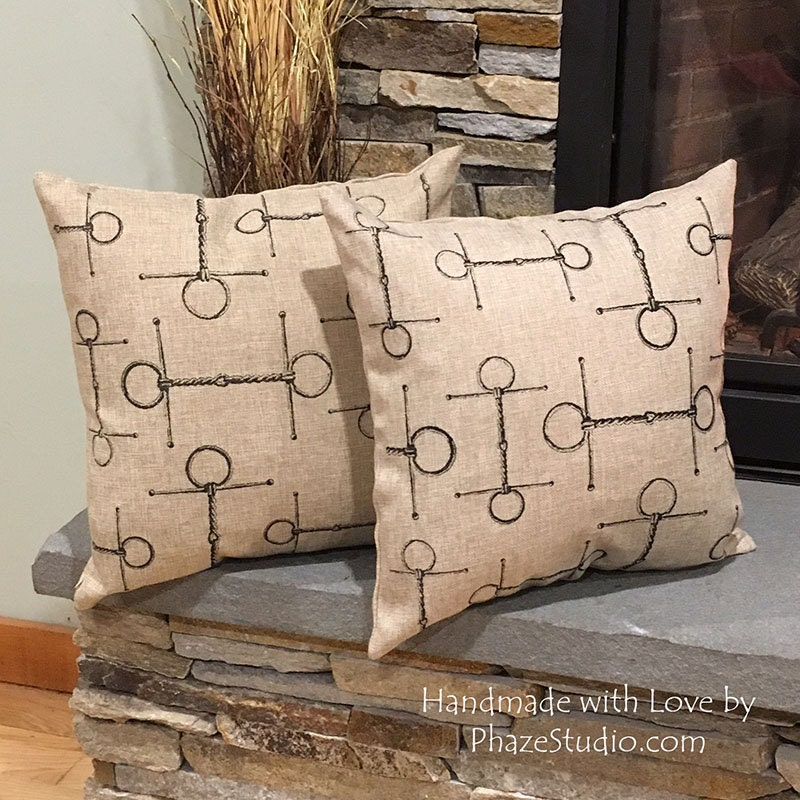 Rustic Decorative Pillow Covers : Rustic Pillow covers for horse lovers Equestrian decor Full