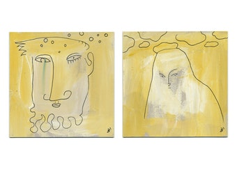 """Orig. """"Mixed feelings"""" 2 x 15/15 cm (2 x 5.9/5.9 inches) / yellow - simple art"""