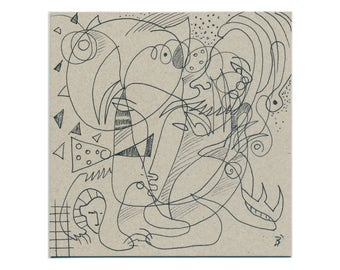Drawing 15/15 cm (5.9/5.9 inch) lines, contour drawings, line drawings