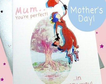 Mary Poppins, Mother's Day card, Happy Mother's Day, Mum card, the Mummy, Mum from daughter, Card for Mum