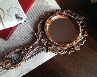 Vintage German Hand Mirror, Woman Mirror, Old Brown Decorated Plastic Hand Mirror with Two Faces