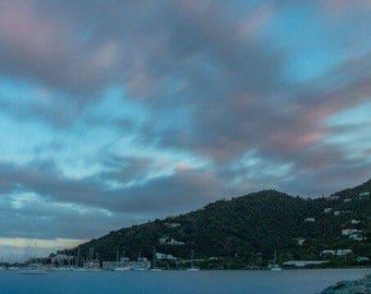 Panorama, Tortola, British Virgin Islands, clouds, Sunset, Long Exposure, Islands, Mountains