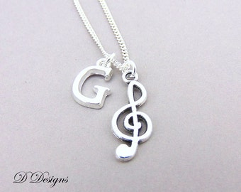 Treble Clef Necklace, Personalised Music Jewellery, Personalised  Necklace, Sterling Silver Chain, Personalised Musical Note Necklace