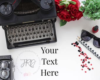 Red and Black Typewriter Styled Stock Photography Desk for Instagram, Pinterest, Branding and Blogging