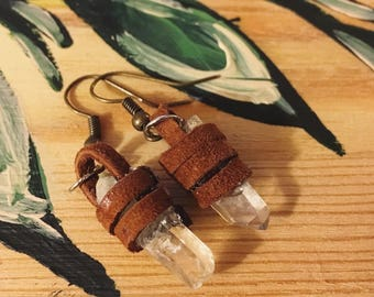Leather Wrapped Crystal Earrings