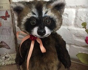 Little raccoon. Soft nature, arttoy,teddy doll, fur