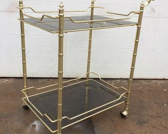 Vintage Brass Faux Bamboo Bar Cart