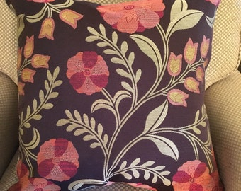 Brown Green Rust Red Modern Floral Decorative Pillow Cover Throw Pillow 20""