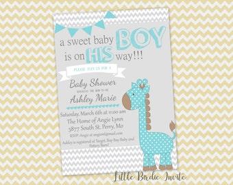 Blue Giraffe Baby Shower Invitation, Printable Baby Shower Invitation, Digital Baby Shower Invitation, Custom Baby Shower Invitation