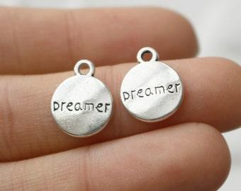 Dreamer Charm, Dreamer Pendant, Motivational Charm, Antique Silver, Message Charm, Set of 20, 0144