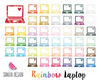 43 Rainbow Laptop clipart. Personal and comercial use.