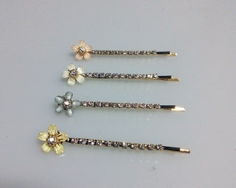 Hair pins, bobby pins, Tiny flower pins