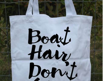Boat Hair Don't Care 13.5x13.5 white canvas bag