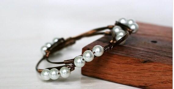 Pearl Bangle, Pearl bracelet, Pearl stacking bangle, bridesmaid gift, bridal jewelry