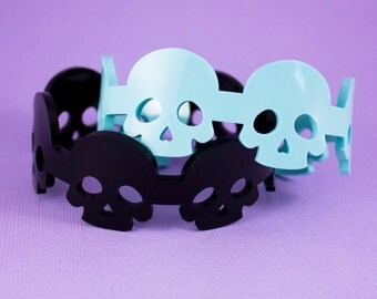 Skull Bracelet Cuff - Choose Your Colour