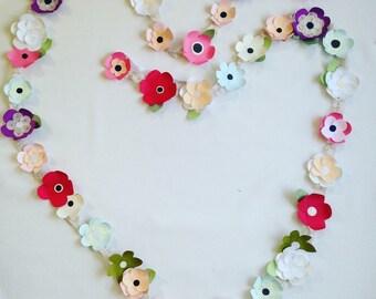 Mini paper flower garland