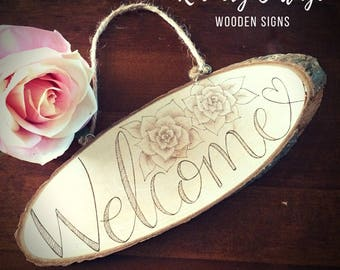 Wooden welcome sign, wood sign, wooden sign, wooden plaque, pyrography sign, wood burned plaque, welcome door sign, wood slice, shop sign,