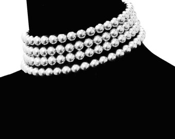 Choker Necklace, Silver Choker Necklace, Necklace Choker, Statement Necklace, Chokers, Wedding Choker, Multi Strand Silver Pearl Necklace