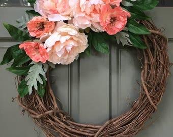Spring grapevine floral wreath with pink flowers, year round front door wreath, door wreath, spring wreath