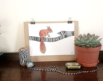 Red Squirrel || A5 Signed Print