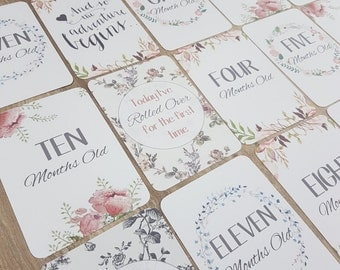 Floral Chic Baby Milestone/Month Cards | baby shower gift | baby cards *NEW*