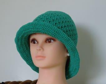 Opal Green Summer Hat 100% Cotton Crochet Handmade