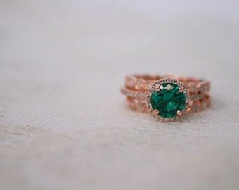 Round Emerald Diamond, Halo Engagement Ring, Rose Gold Art Deco, Wedding set,  Emerald Wedding set, Diamond, Rose Gold, Halo Diamond