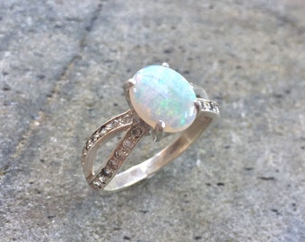 Opal Ring, Natural Opal Ring, Opal Engagement Ring, Australian Opal, Natural Opal, Vintage Opal, Vintage Rings, Antique Opal, Solid Silver