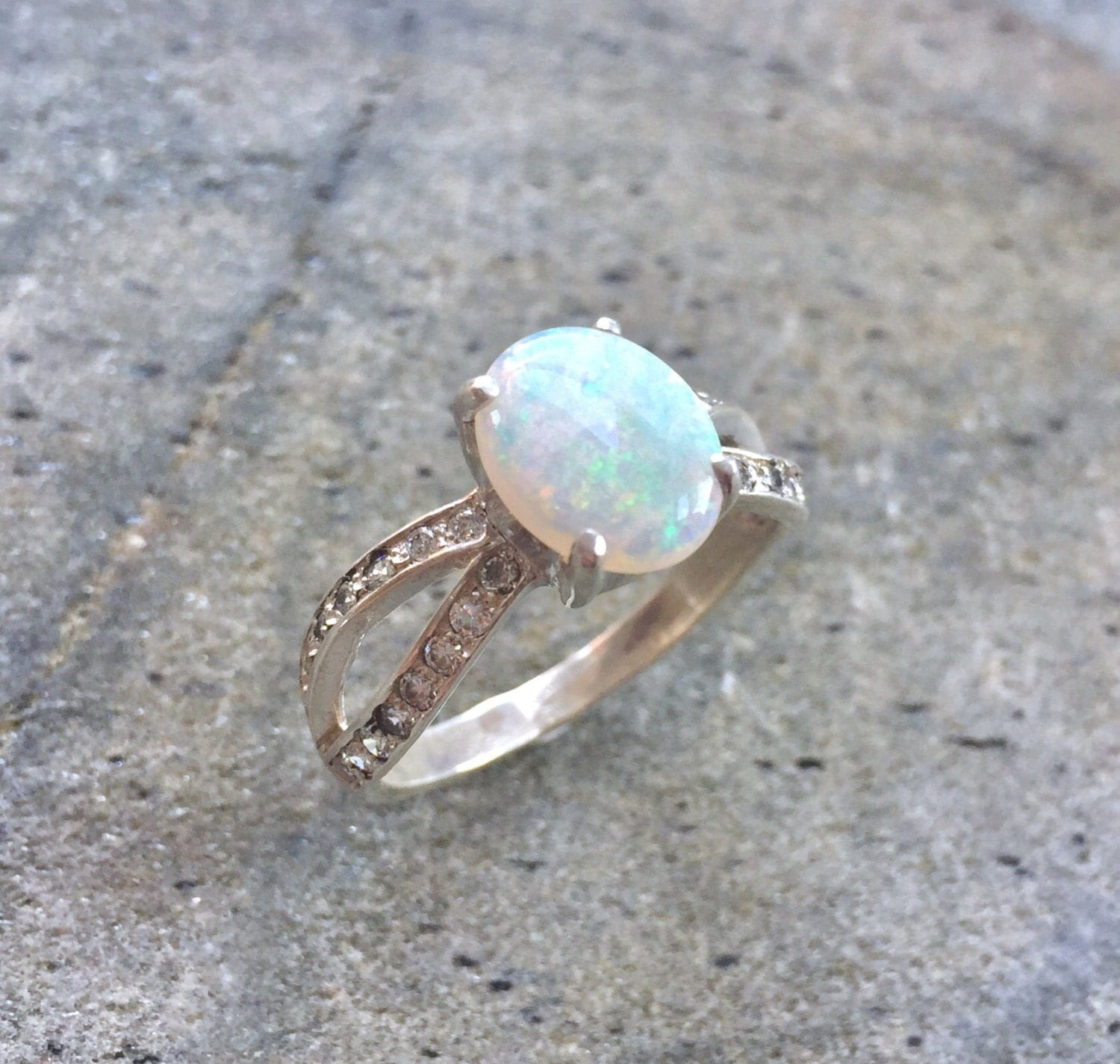 Opal Engagement Rings: Opal Ring Natural Opal Ring Opal Engagement Ring Australian