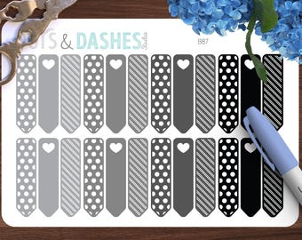 Neutral Decorative Flag stickers, flag stickers, black grey flags, pretty flag stickers, life planner