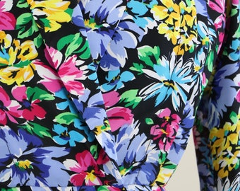 Boho Vintage 1940s Inspired Colourful Floral Long Sleeve Double Breasted Cropped Jacket Blazer 1980s Size Small Medium