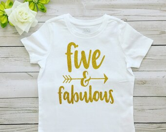 Girl's Five years old Birthday T-shirt, Birthday girl T-shirt,Custom made Birthday T-shirt