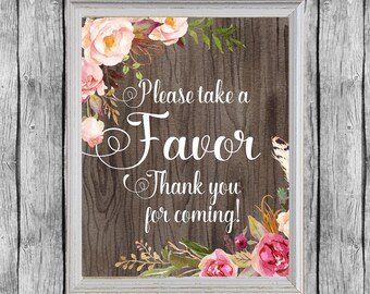 Floral Rustic Favors Sign. Bridal Shower Favors Sign 8x10 Digital File, Instant Download. Wedding Favors Sign. Thank You for Coming Sign.