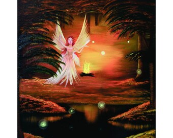 Wings To A Flame-8x10, 11x14, 16x20, 20x24, Digital Prints, Giclee Prints, Fine Art, Fantasy, Fairies, Oil Painting By GLuxArt, Wall Art
