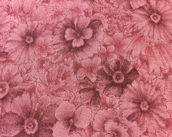 Burgundy Floral Fabric Quilting Cotton. Fat 8th. Burgundy Quilting Cotton. Vintage Floral Fabric.