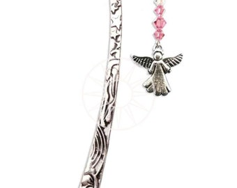 Swarovski Crystal & Pewter Bookmark with Pewter Inspirational Charm - ANGEL ROSE
