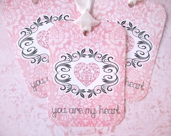 Valentine Tags-You Are My Heart-Set of 6
