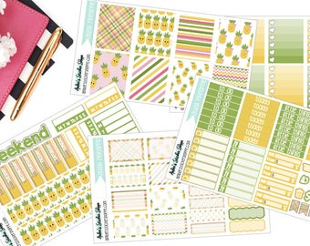 A La Carte Kawaii Pineapple Weekly Kit for ECLP Vertical Planner Stickers