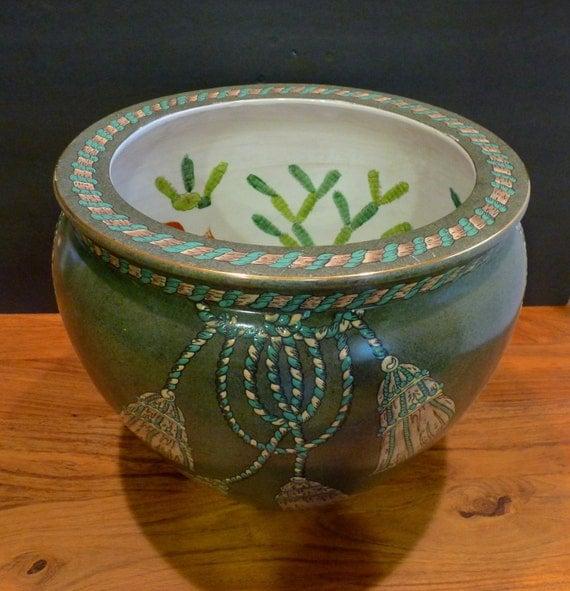 Chinese fish bowl porcelain fishbowl planter dark green for Chinese fish bowl