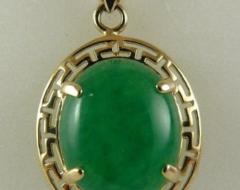 Green Jade 12.9mm x 9.8mm Pendant 14k Yellow Gold