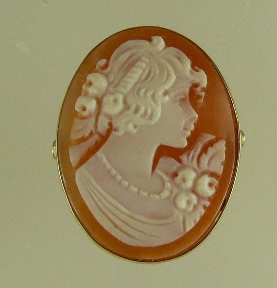 Cameo 24.6 mm x18.9 mm Carnelian Shell Lady Ring,14K Yellow Gold,Size Selectable