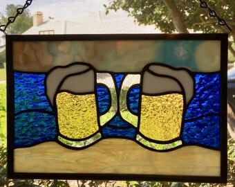 2 Glass of Beer on the Beach Stained Glass Panel Suncatcher