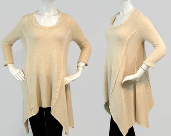 Trendy, Full Sleeve Top, Tunic, Hi Lo Top, Asymmetrical Top, Regular size Top, Creme Color, Boho Sizes S, M, L