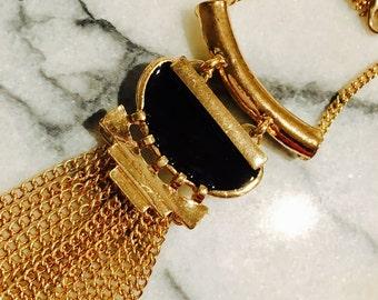 Black and Gold Cleopatra Tassel Fringe Necklace