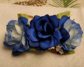 Artificial Blue Rose Hair Barrette