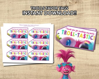 TROLLS FAVOR TAGS | Trolls Thank-You Tags | Instant Download! | Trolls Thank You Cards