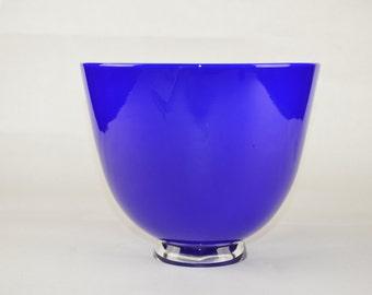 Handblown Glass Bowl Blue and Light Blue
